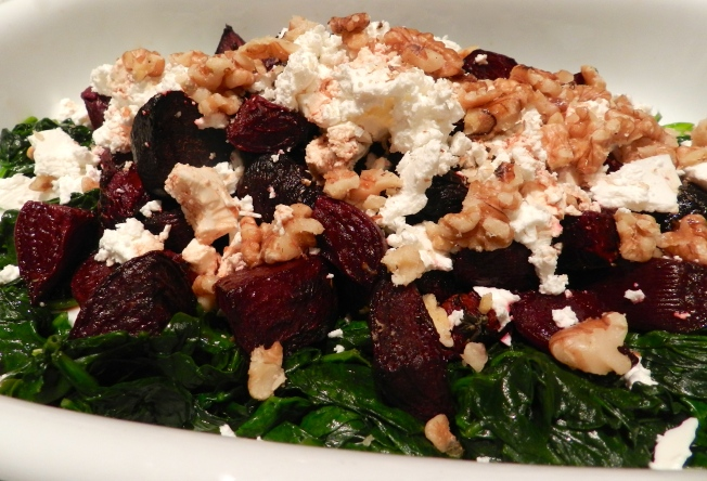 Roasted Beetroot and Spinach Salad